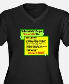 Golfers Wheres My List Plus Size T-Shirt