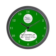 Real Programmers Octal Wall Clock (Green)