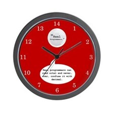 Real Programmers Octal Wall Clock (Red)