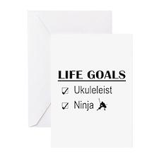 Ukuleleist Ninja Life Go Greeting Cards (Pk of 10)