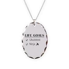 Ukuleleist Ninja Life Goals Necklace Oval Charm