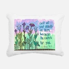 1 Peter 5:7 Rectangular Canvas Pillow