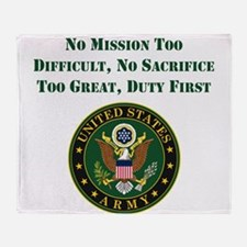 Duty First Army Saying Throw Blanket