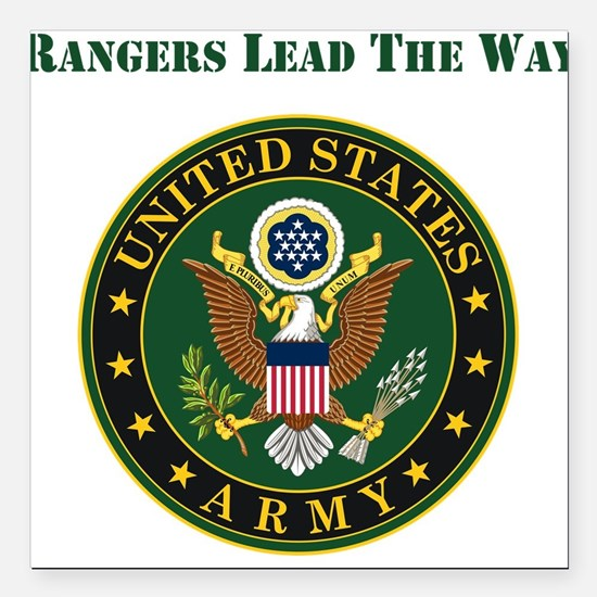 """Army Rangers Lead The Way Square Car Magnet 3"""" x 3"""