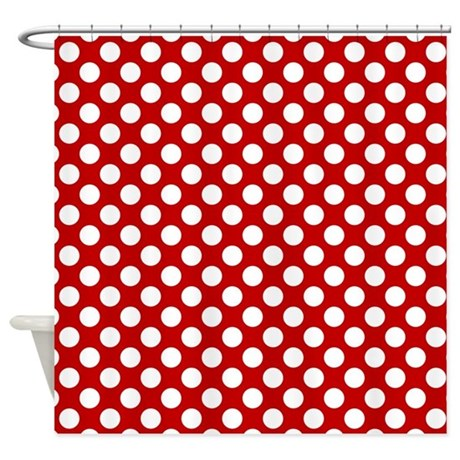 Red White Dots Pattern Shower Curtain By DreamingMindCards