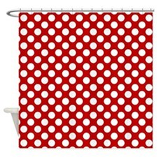 Red White Dots Pattern Shower Curtain