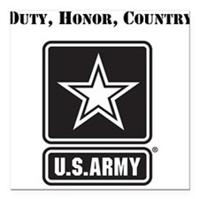 "Duty Honor Country Army Square Car Magnet 3"" x 3"""