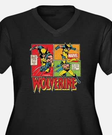 Wolverine Co Women's Plus Size V-Neck Dark T-Shirt