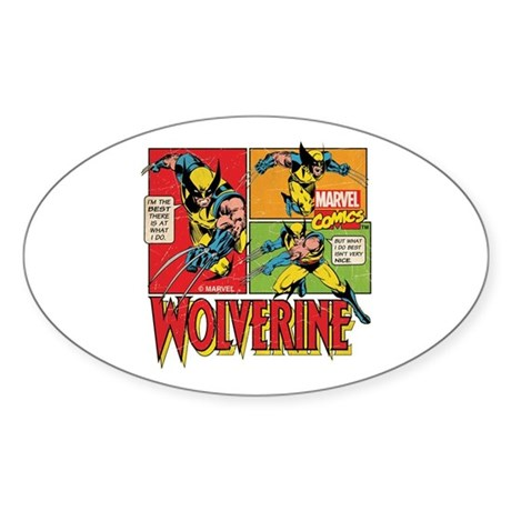 Wolverine Comic Sticker (Oval)