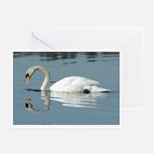 Swan Reflection Art Greeting Cards