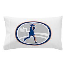 Female Marathon Runner City Retro Pillow Case