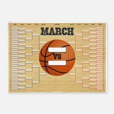 March Basketball Bracket Madness Ch 5'x7'Area Rug