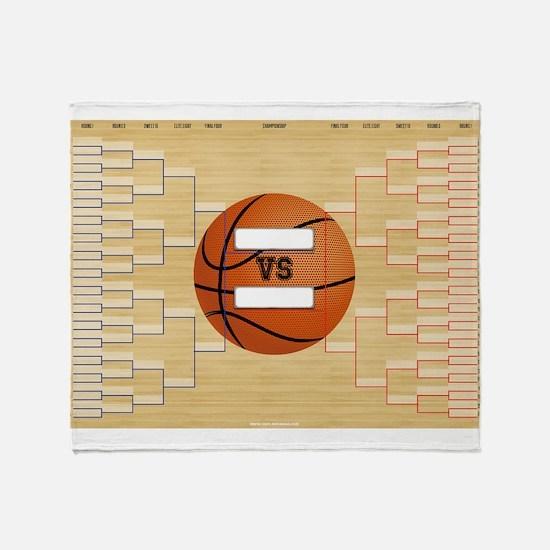 March Basketball Bracket Madness Cha Throw Blanket