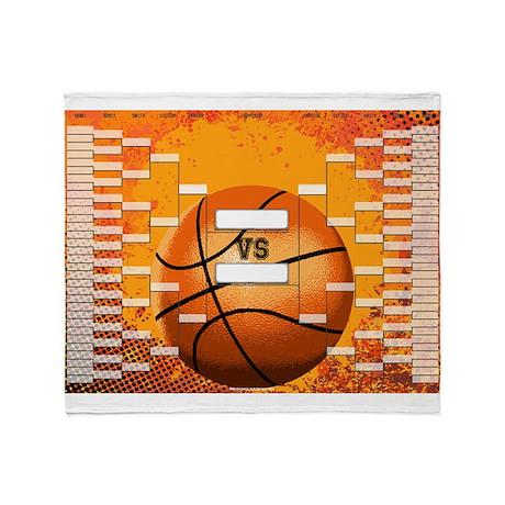 March Madness Basketball Bracket Cha Throw Blanket