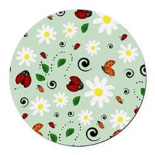 Ladybugs Daisy Garden Green Round Car Magnet