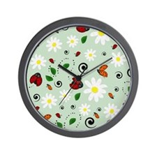 Ladybugs Daisy Garden Green Wall Clock