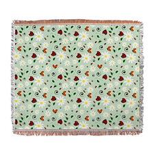 Ladybugs Daisy Garden Green Woven Blanket