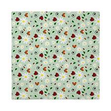 Ladybugs Daisy Garden Green Queen Duvet