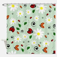Ladybugs Daisy Garden Green Shower Curtain