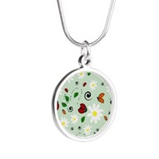 Ladybugs Daisy Garden Green Necklaces