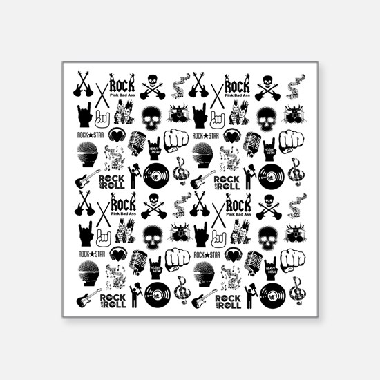 "Rock N Roll Square Sticker 3"" x 3"""