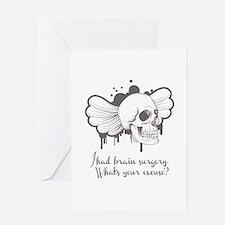 I Had Brain Surgery - Grey Greeting Card