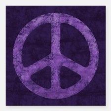 Distressed Purple Peace Sign Square Car Magnet 3""