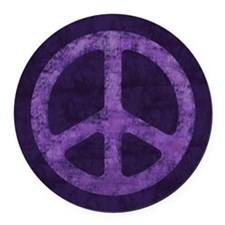 Distressed Purple Peace Sign Round Car Magnet