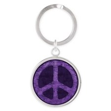 Distressed Purple Peace Sign Keychains