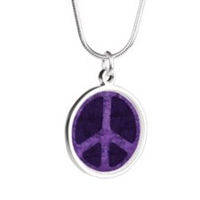 Distressed Purple Peace Sign Necklaces