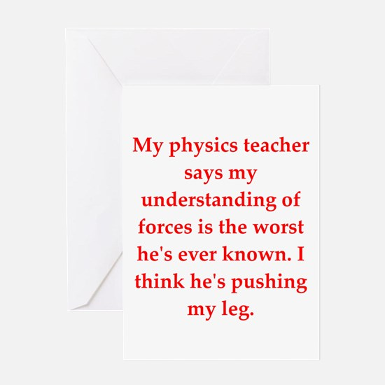 physics joke Greeting Cards