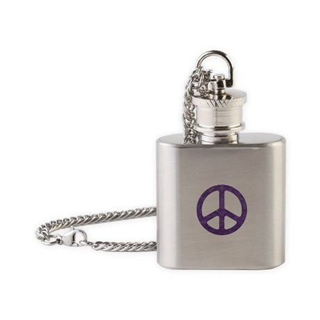 Distressed Purple Peace Sign Flask Necklace