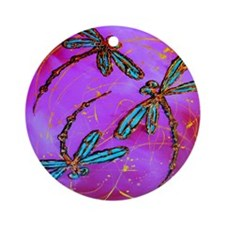Dragonfly Flit Electric Pink Round Ornament
