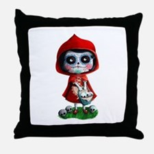 Spooky Red Riding Hood Throw Pillow