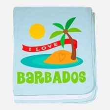 I Love Barbados baby blanket