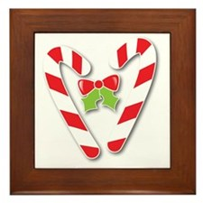 Cute heart candy canes Framed Tile