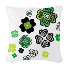 Celtic Love Knot Clovers Woven Throw Pillow