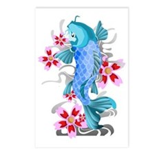 Blue Koi Fish Postcards (Package of 8)