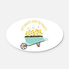 April Showers Bring May Flowers Oval Car Magnet