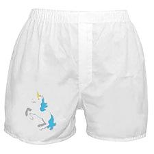 White and blue UNICORN  Boxer Shorts