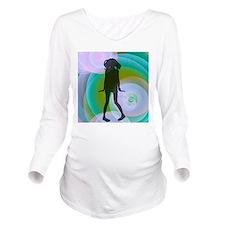 retro dancing girl aqua Long Sleeve Maternity T-Sh