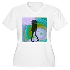 retro dancing girl aqua Plus Size T-Shirt