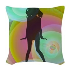 retro dancing girl green Woven Throw Pillow