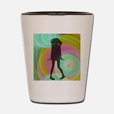 retro dancing girl green Shot Glass