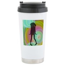 retro dancing girl green Travel Mug