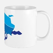 Blue Cruise ship boat on the ocean Mug