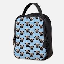 Pugs on Pastel Blue Neoprene Lunch Bag