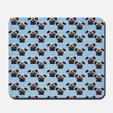 Pugs on Pastel Blue Mousepad