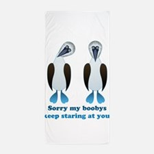 Pair of Boobys text Beach Towel