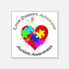 """Autism Puzzle on Heart Square Sticker 3"""" x 3"""""""